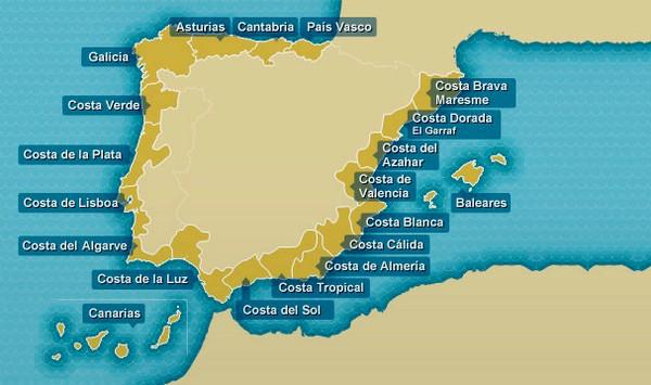 Unikalne Mapa hiszpańskich wybrzeży - Wybrzeża Hiszpanii - Turystyka od A DV34